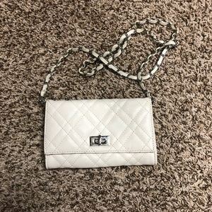 Cream handbag with silver accents